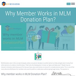 Why Member Works in MLM Donation Plan? - MLM Developers