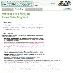 Read This First: To Add New Blogs & Rules of Membership - Pakistani Bloggers