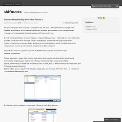Custom Membership Provider. Часть 2 « shiftnotes