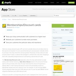 Memberships and Discount Card App for Online Stores