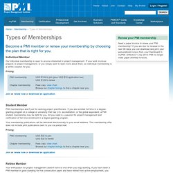 Types of PMI Memberships