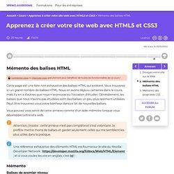 Mémento des balises HTML - Apprenez à créer votre site web avec HTML5 et CSS3