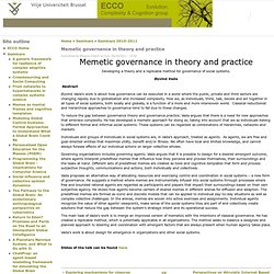 Memetic governance in theory and practice | ecco.vub.ac.be