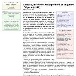 Mémoire, histoire et enseignement de la guerre d'Algérie (1999)