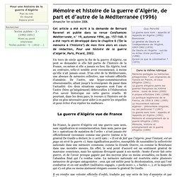 Mémoire et histoire de la guerre d'Algérie, de part et d'autre de la Méditerranée (1996)