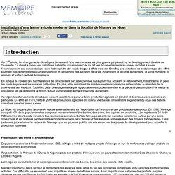 CESAG - 2006 - Mémoire en ligne : Installation d'une ferme avicole moderne dans la localité de Niamey au Niger