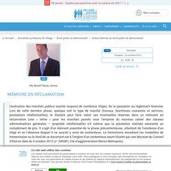 Mémoire en réclamation. Par Benoit Fleury, Juriste.