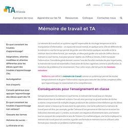 Mémoire de travail et TA - TA@l'école