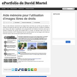 Aide mémoire pour l'utilisation d'images libres de droits | ePortfolio de David Martel