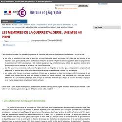 LES MEMOIRES DE LA GUERRE D'ALGERIE : UNE MISE AU POINT