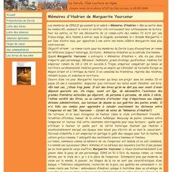 Club lecture n° 107, Mémoires d'Hadrien de Marguerite Yourcenar