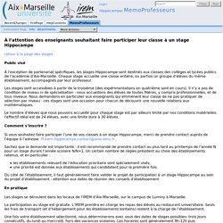 MemoProfesseurs - Site des stages Hippocampe de l'IREM d'Aix-Marseille