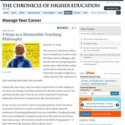 4 Steps to a Memorable Teaching Philosophy - Manage Your Career