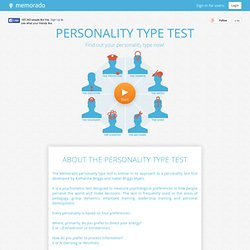 Memorado Personality Type Test for free