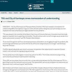 and City of Kamloops renew memorandum of understanding – TRU Newsroom