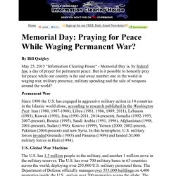 Memorial Day: Praying for Peace While Waging Permanent War?  :   Information Clearing House