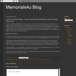 Memorials4u Blog: Urns For Human Ashes – Some Important Considerations When Buying Infant Urns