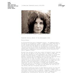 In Memoriam: Raymonde Carasco 1933-2009