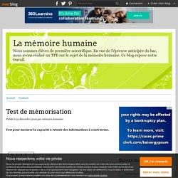 Test de mémorisation - La mémoire humaine