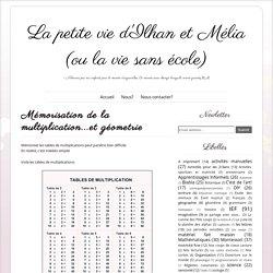 Mémorisation de la multiplication...et géometrie ~ La petite vie d'Ilhan et Mélia (ou la vie sans école)