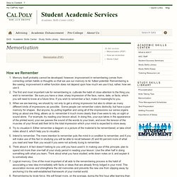 Memorization - Study Skills Library - Cal Poly
