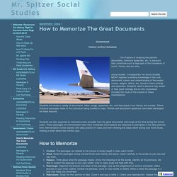 How to Memorize The Great Documents - Mr. Spitzer Social Studies