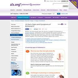 heimer's Association - 10 Signs of Alzheimer's