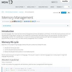 Memory Management - JavaScript