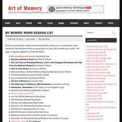 My Memory Books Reading List — Mnemotechnics.org