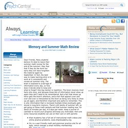 Memory and Summer Math Review