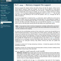 16.7. mmap — Memory-mapped file support