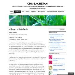 In Memory of Winin Pereira « CHS-Sachetan
