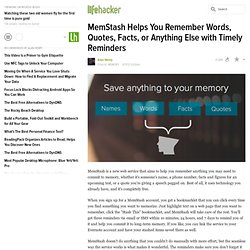 MemStash Helps You Remember Words, Quotes, Facts, or Anything Else with Timely Reminders