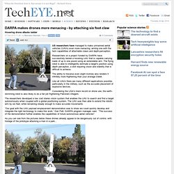 DARPA makes drones more menacing - by attaching six foot claw - Hovering drone attacks ladder