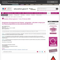 Programme Histoire-Géo Bac Pro (2009)