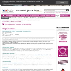 Demandes de certificats médicaux en milieu scolaire - MENE0924735N