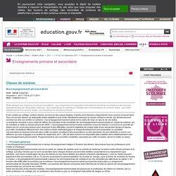 Accompagnement personnalisé en 6e - circulaire du 27-7-2011