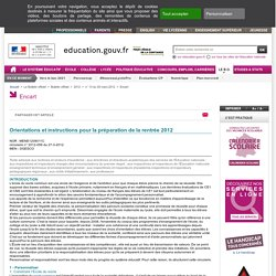 Bulletin officiel - Rentrée 2012 Ministère de l'Éducation nationale