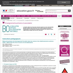 Démarche globale de développement durable dans les écoles et les établissements scolaires (E3D) - Référentiel de mise en œuvre et de labellisation