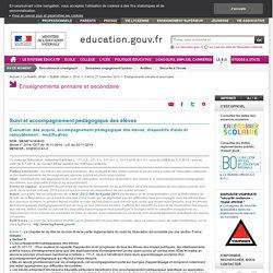 Évaluation des acquis, accompagnement pédagogique des élèves, dispositifs d'aide et redoublement : modification - BO du 20 novembre 2014