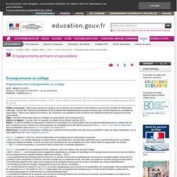 MENE1511207D - Organisation des enseignements au collège 2016