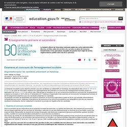 B.O. Examens et handicap