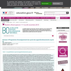 Programme d'enseignement cycle 4