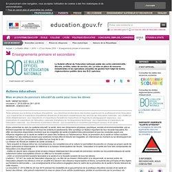 Mise en place du parcours éducatif de santé pour tous les élèves- BO n°5 du 4 février 2016
