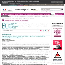 Climat scolaire : généralisation et structuration des groupes académiques (BO)
