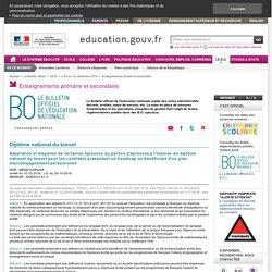 BO- DNB et adapation pour élèves avec handicap ou PAP-