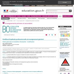 Français/Histoire-Géo - CAP/Bac Pro. Nouvelles modalités d'évaluation Session 2018