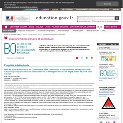 Mise en œuvre du contrat du 22 décembre 2016 concernant la reproduction par reprographie d'œuvres protégées dans les établissements d'enseignement du 1er degré public et privé sous contrat