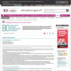 Prix de l'éducation - édition 2017