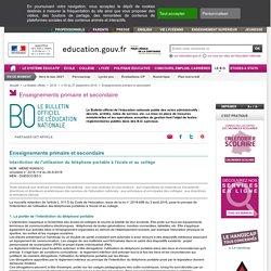 Circulaire règlementation usage portable école-collège - MENE1826081C -26/09/2018